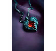 Winged heart with red gem Photographic Print