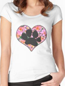 Paw Print in Heart with Flowers Women's Fitted Scoop T-Shirt
