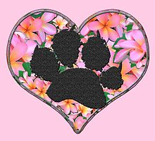 Paw Print in Heart with Flowers by amanda metalcat dodds