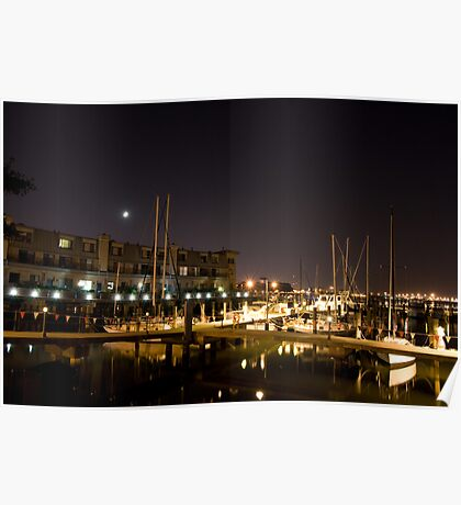Boats in Downtown Norfolk Poster