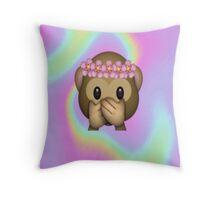 Monkey in a Flower Crown Emoji Design Throw Pillow