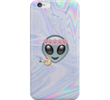 Smoking Alien Emoji In A Flower Crown  iPhone Case/Skin