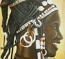 Fulani woman with Maria Teresa Dollars by cathy savels