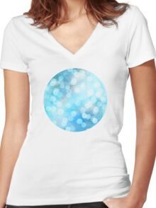 Turquoise Snowstorm - Abstract Watercolor Dots Women's Fitted V-Neck T-Shirt