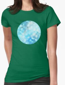 Turquoise Snowstorm - Abstract Watercolor Dots Womens Fitted T-Shirt