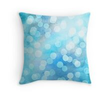 Turquoise Snowstorm - Abstract Watercolor Dots Throw Pillow