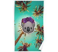 Koala in a Flower Crown Emoji Design Poster