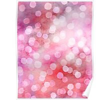 Strawberry Sunday - Pink Abstract Watercolor Dots Poster