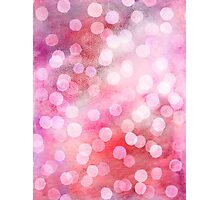 Strawberry Sunday - Pink Abstract Watercolor Dots Photographic Print