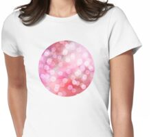 Strawberry Sunday - Pink Abstract Watercolor Dots Womens Fitted T-Shirt