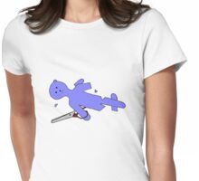 Trouble Teddy, don't play with mum's good scissors. Womens Fitted T-Shirt
