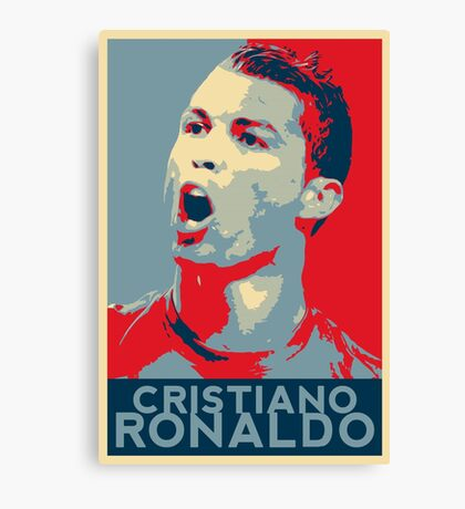 """Cristiano Ronaldo Portrait inspired by the Barack Obama """"Hope"""" poster designed by Shepard Fairey. Canvas Print"""