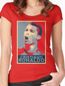 """Cristiano Ronaldo Portrait inspired by the Barack Obama """"Hope"""" poster designed by Shepard Fairey. Women's Fitted Scoop T-Shirt"""