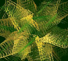 Green and gold abstract by Gaspar Avila