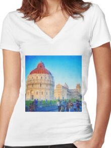 Pisa I Women's Fitted V-Neck T-Shirt