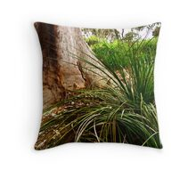 tree trunk and grass Throw Pillow