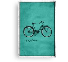 Retro Bicycle Pop Art 'Explore'. Canvas Print