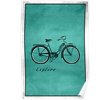 Retro Bicycle Pop Art 'Explore'. Poster