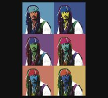 Captain Jack Sparrow Andy Warhol style Poster, Pop Art 6 Color Digital Poster Portrait. Pirates of the Caribbean. One Piece - Short Sleeve