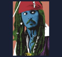 Captain Jack Sparrow Andy Warhol style Poster, Pop Art Big Digital Poster Portrait.  One Piece - Short Sleeve