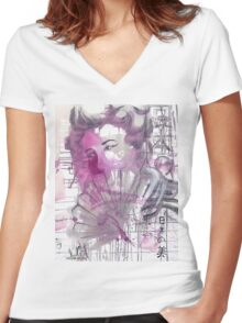 Elusive Beauty Women's Fitted V-Neck T-Shirt