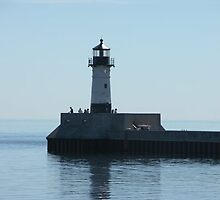 Lighthouse in duluth MN harbor by Diane Trummer Sullivan