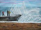 Fishing, Collaroy Beach, Australia, Seascape by © Linda Callaghan