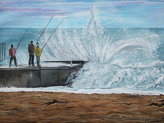 Fishing, Collaroy Beach, Australia, Seascape by Linda Callaghan