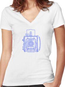 Vintage Photography - Graflex - Blue Women's Fitted V-Neck T-Shirt