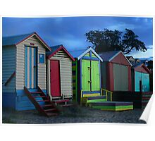 Bathing boxes at sunset Poster