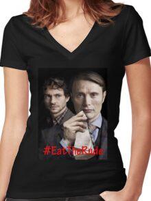 Eat the Rude #Hannigram Women's Fitted V-Neck T-Shirt