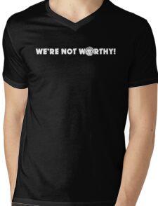"""""""We're Not Worthy!"""" Design Mens V-Neck T-Shirt"""