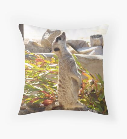 Vertical Meerkat Throw Pillow