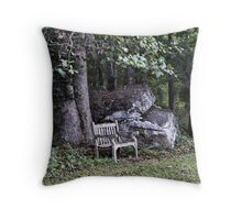 once upon a bench Throw Pillow