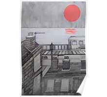 Red Sun along from Brigton Pier Poster