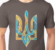 Blue and Yellow Ukrainian tryzub Unisex T-Shirt