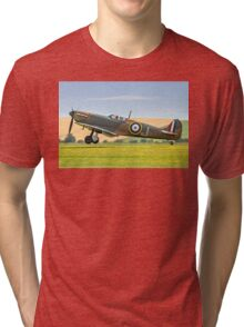 Spitfire Ia P9374/J G-MKIA three pointer Tri-blend T-Shirt