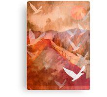 Gulls Overflying Downland Metal Print