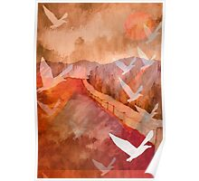 Gulls Overflying Downland Poster