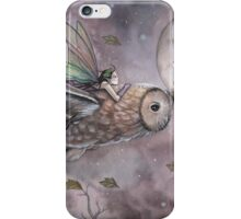 Soaring Fairy and Owl in Flight Illustration Fantasy Art by Molly Harrison iPhone Case/Skin