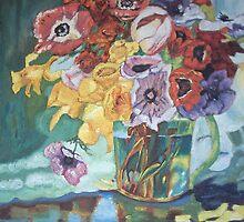 Vase fleurs mélangées by Gilberte
