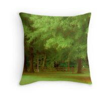 Trees, Yard And Fence Throw Pillow