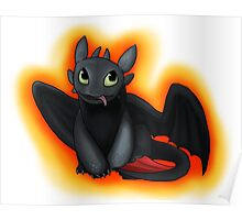 Toothless with Fire Background Poster