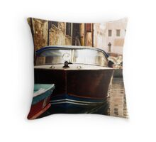 Lonely Boat in Venice Throw Pillow