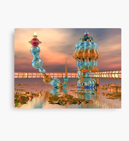 Alien Beach Resort Architecture - 3D digital art Canvas Print