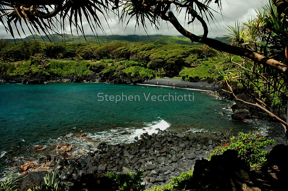 Honokalani Black Sand Beach, Maui by Stephen Vecchiotti