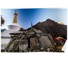 Mani stones and Stupa with Tengboche Monastery in Background Poster