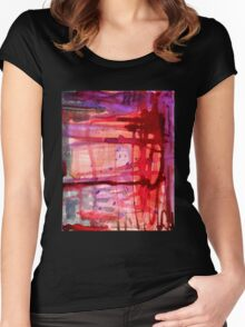 mostly red with purple Women's Fitted Scoop T-Shirt