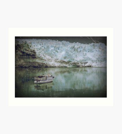 Glacier and small boat Art Print