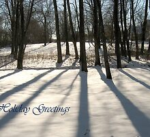 Concord Snow Trees with greeting by Judi FitzPatrick